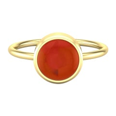 22 Karat Gold Round Cabochon Ring by Romae Jewelry Inspired by Ancient Designs
