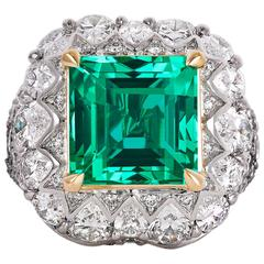 Untreated 5.66 Carat Colombian Emerald Diamond Gold Ring