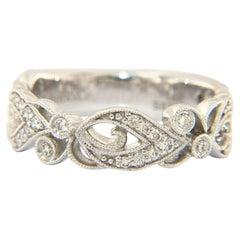 New Gabriel & Co. Diamond Milgrain Floral Band Ring in 14K White Gold