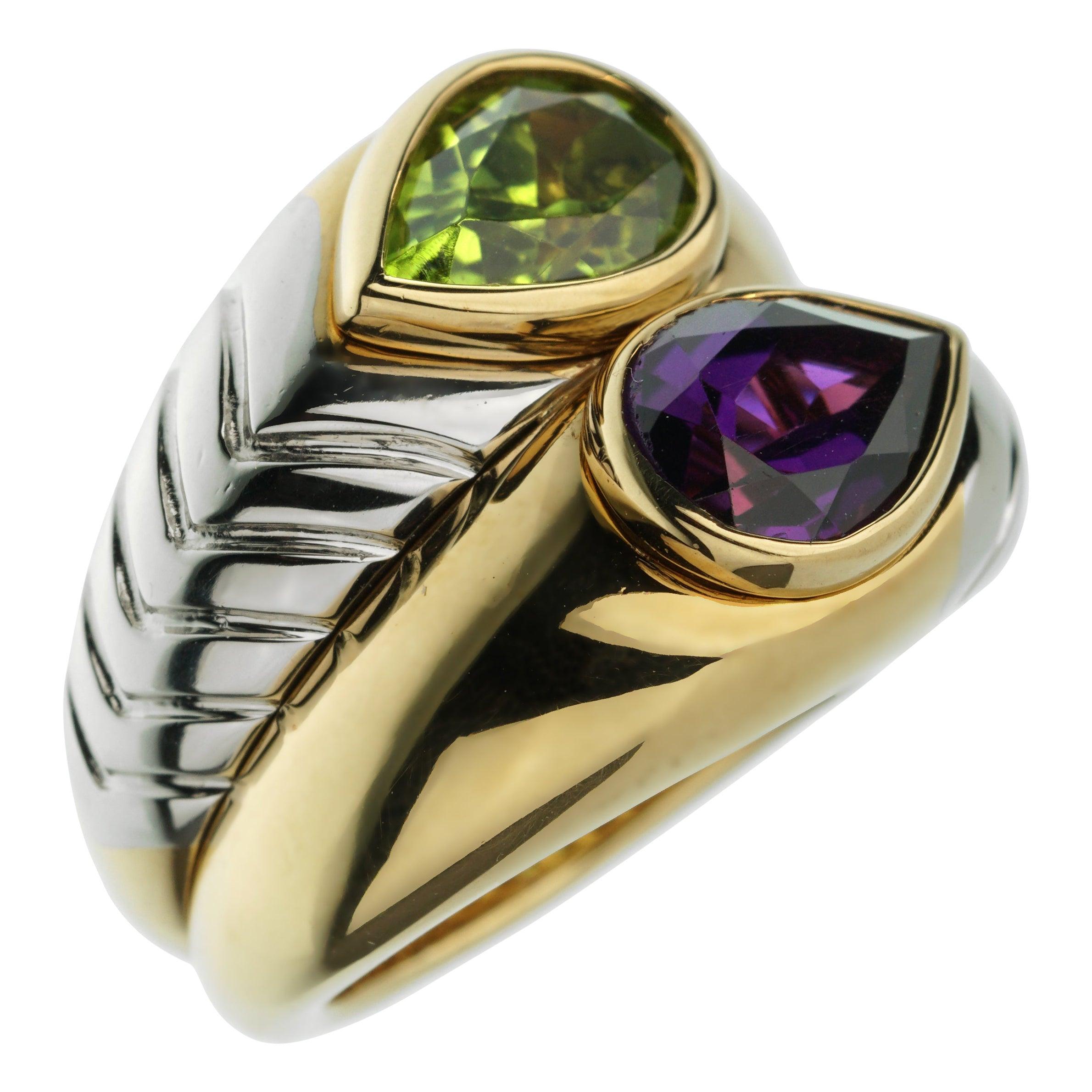 Bvlgari Amethyst Peridot Bypass Cocktail Gold Ring