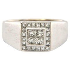 Gents Invisible Princess Diamond Square Frame Signet Ring in 14K White Gold