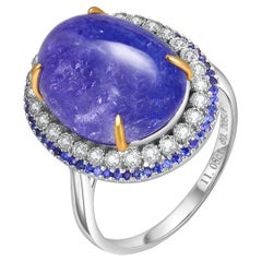 Fei Liu 11.08 Karat Tanzanite Blue Sapphire Diamond 18 Karat Gold Cluster Ring