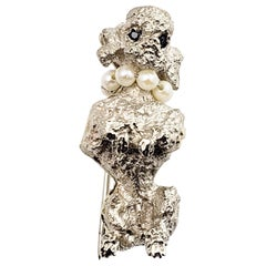 14 Karat White Gold, Pearl and Sapphire Poodle Brooch/Pin