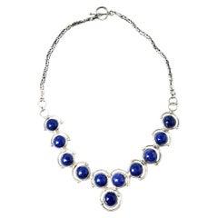 Sterling Silver Cabochon Lapis Lazuli Link Necklace