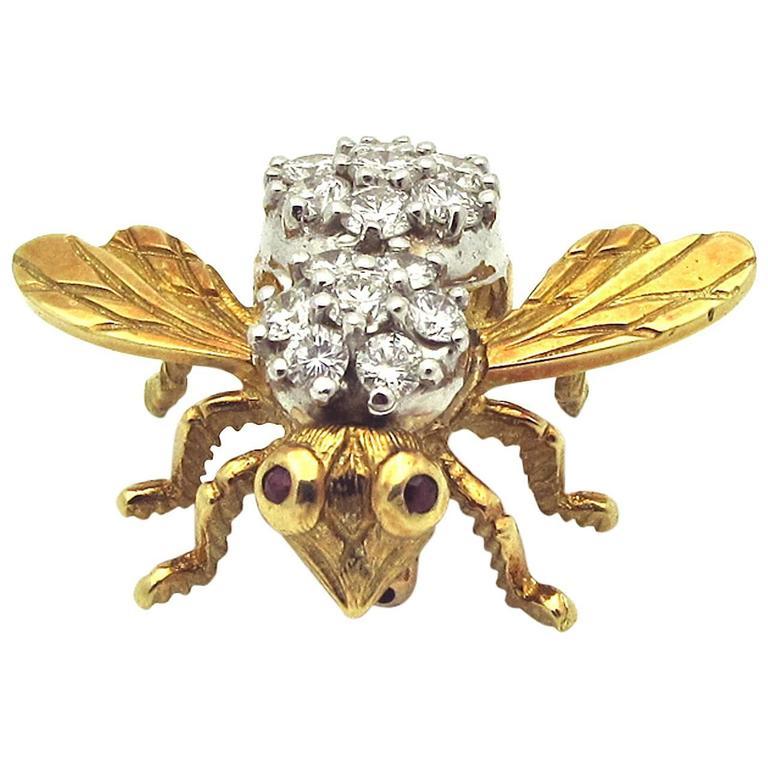 1960s Ruby Diamond Gold Bee Pin