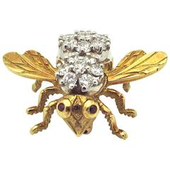 1960s Ruby Diamond Gold Bee Pin
