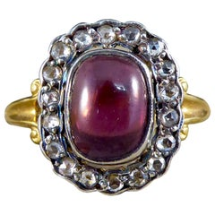 Antique Style Cabochon Garnet and Diamond Cluster Ring in 18ct Yellow Gold