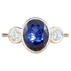 1.92ct Sapphire and Diamond Three Stone Ring in Platinum