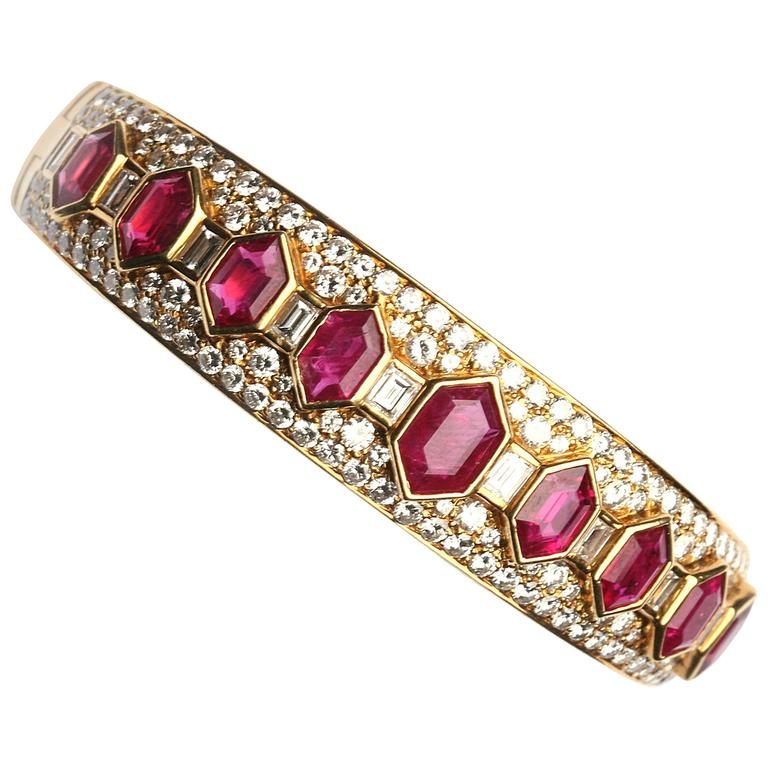 Bulgari Iconic Ruby Diamond Bangle Bracelet For