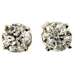 14 Karat White Gold Diamond Stud Earrings 1.30 TCW