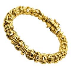 18 K Gold Italian Round Barrel Link Bracelet