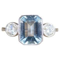 Contemporary 1.20ct Aquamarine and Diamond Three Stone Ring in Platinum