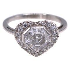 2.05 Carat D VS1 GIA Certified Kite Shape Diamond Platinum Engagement Ring