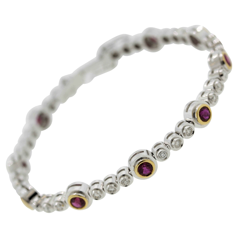 Fine Ruby Diamond Gold Tennis Bracelet