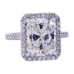 David Rosenberg 4.01 Carat Radiant H VS1 GIA Diamond Engagement Wedding Ring