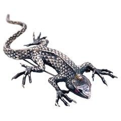 Lizard w Ruby Diamond Brooch in Sterling Silver, Nature Inspired