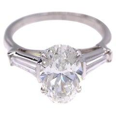 2.25 Carat GIA Certified Oval Diamond Platinum Engagement Ring