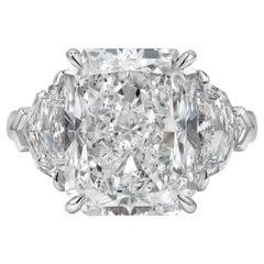 GIA Certified 9.02 Carat Radiant Cut Diamond Three-Stone Engagement Ring