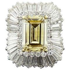 GIA Certified 9.01 Carat Fancy Brownish Yellow Diamond Platinum Ring