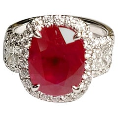 GIA Certified Beautiful 3, Stone Ruby 'Oval Cut' and Diamond Ring