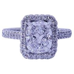 David Rosenberg 2.04 Carat Cushion D SI2 GIA Diamond Engagement Wedding Ring