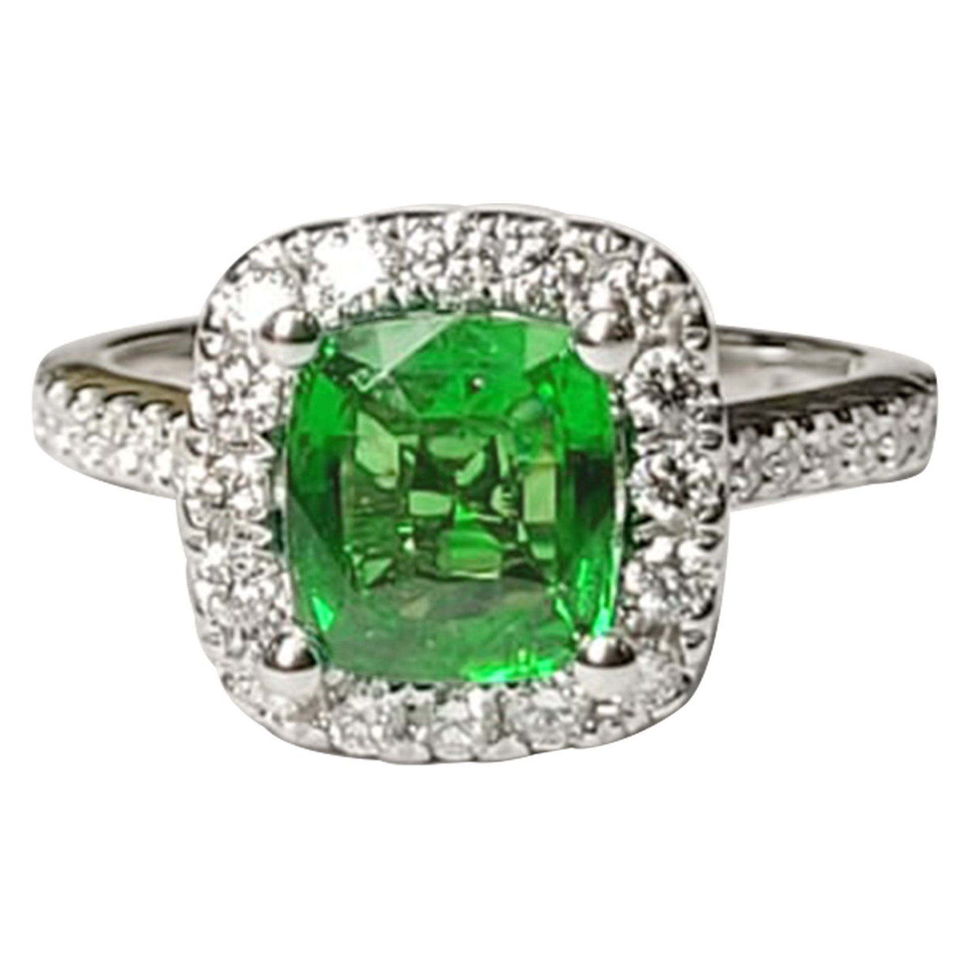 Tsavorite Cocktail Ring w/White Diamonds