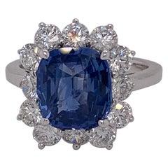 4.63 Carat Cushion Ceylon Sapphire & Diamond Ring in 18 Karat White Gold