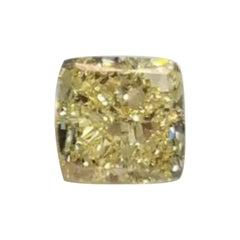 GIA Certified 3.01 Carat Cushion Fancy Yellow Diamond