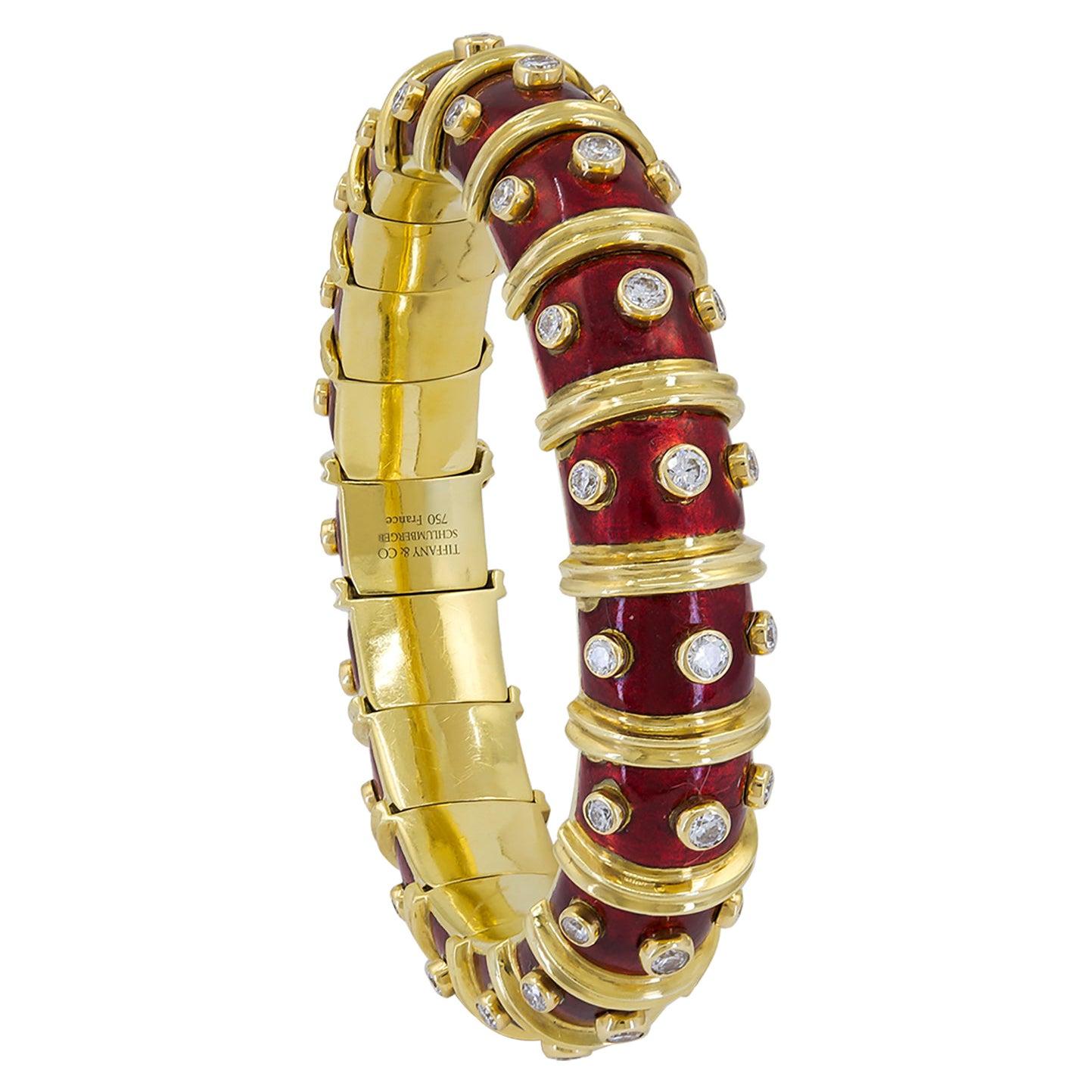 Tiffany & Co. Schlumberger Red Enamel Diamond Bracelet