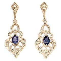 Vintage Inspired 18 Karat White Gold Oval Sapphire Drop Earrings