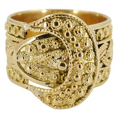 14 Karat Yellow Gold Vintage Wide Buckle Band Ring