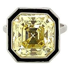 GIA Certified 7.99 Carat Fancy Intense Yellow Diamond & Onyx Ring In Platinum
