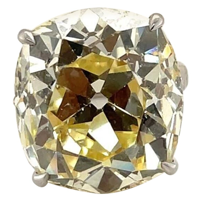 GIA Certified 26.63 Carat Old Mine Cut Natural Fancy Yellow Diamond Ring