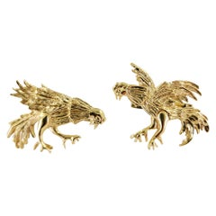 14 Karat Yellow Gold Rooster Cufflinks