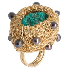 Dioptase and Black Pearl in 14 Kt Yellow Gold Filled Cocktail Ring by the Artist