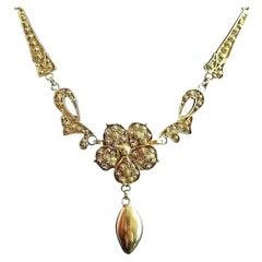 Antique Art Nouveau Lavalier Necklace, Floral, 22 Karat Yellow Gold