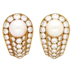 Vintage Cartier Pearl and Diamond Earrings Set in 18 Karat Yellow Gold
