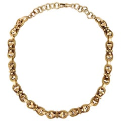 Antique Yellow Gold Whimsical Link Watch Chain Necklace