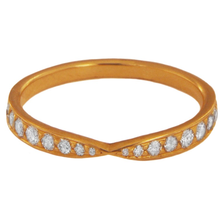 Tiffany & Co. 18k Rose Gold Harmony Ring with Diamonds For Sale