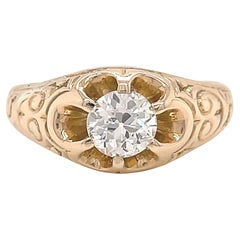 Victorian Revival GIA Round Brilliant Cut Diamond Gold Engagement Ring