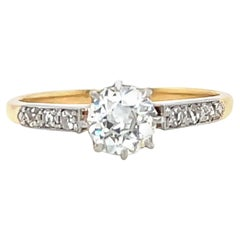 Antique GIA Old European Cut Diamond 18K Gold Engagement Ring