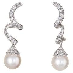 Cultured Pearl Diamond Ribbon Earrings Drops Vintage 18k White Gold Jewelry
