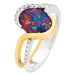 Australian 2.00ct Black Opal Ring in 18k White and Yellow Gold