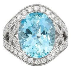7.24 Carat Santa Maria Aquamarine and Diamond Ring in 18 Karat White Gold