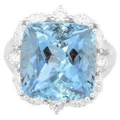 10.0 Carat Aquamarine and Diamond Ring in 18 Karat White Gold