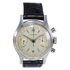 Wittnauer Stainless Steel Art Deco Style Register Chronograph, Circa 1940's-50's