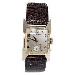 """Hamilton """"Clark"""" YGF Art Deco Style Wristwatch with Solid Gold Numerals 1950's"""
