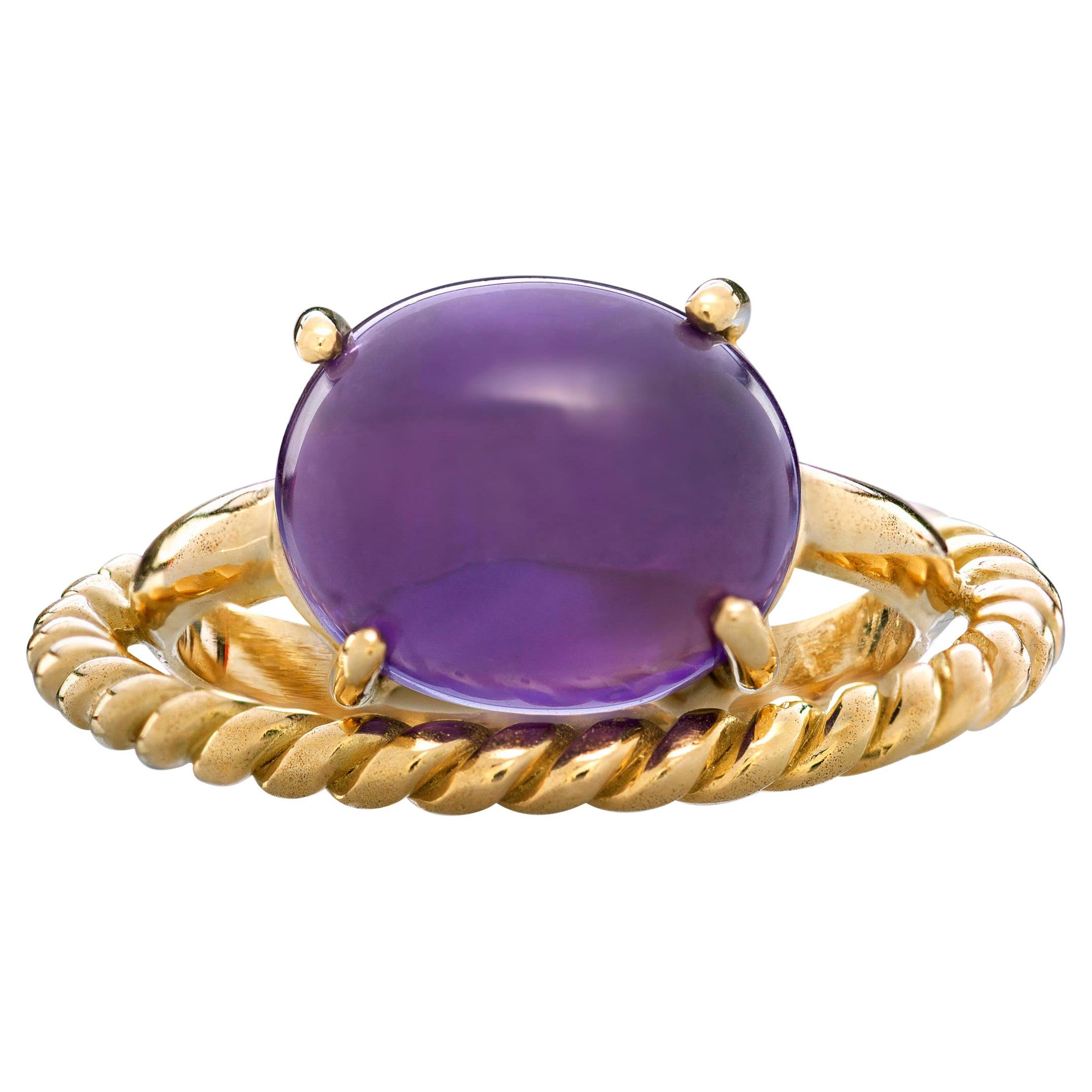 Modern 18 Karat Yellow Gold Twist Love Amethyst Handcrafted Design Ring