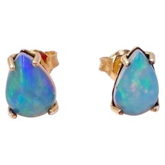 18 Karat Yellow Gold Stud Drop Opal Handcrafted Modern Design Talisman Earrings