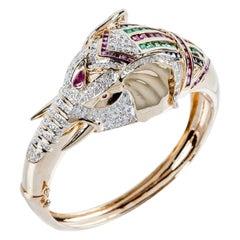 Splendid 14K Yellow Gold Bracelet w/Pavè of Diamonds, Sapphires Emeralds & Rubys
